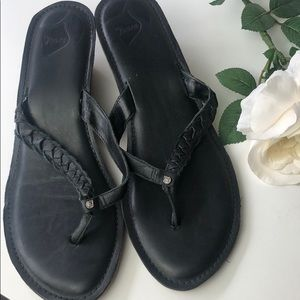 Reef braided leather wedge flip flop sandals